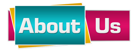 about us: About Us Turquoise Pink Horizontal Stock Photo