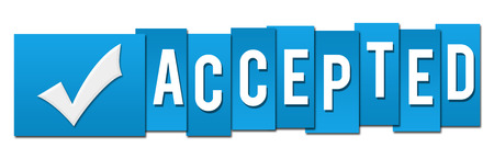 accepted: Accepted Blue Tickmark Stripes Stock Photo