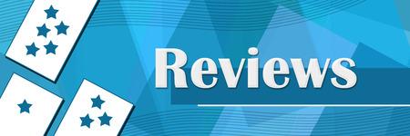 reviews: Reviews Random Shapes Blue Background Stock Photo
