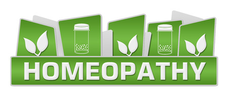 homeopathy: Homeopathy Green Leaves Bottle On Top
