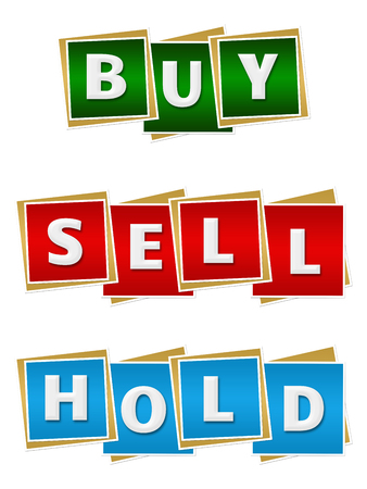 sell: Buy Sell Hold Red Green Blue Blocks