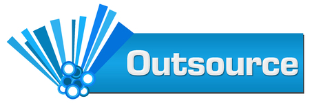 outsource: Outsource Blue Graphical Horizontal
