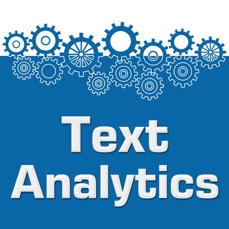 sprockets: Text Analytics Blue Gears On Top Stock Photo