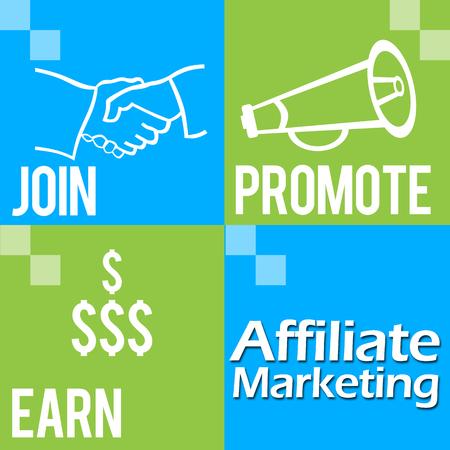 affiliate marketing: Affiliate Marketing Green Blue Four Blocks Stock Photo