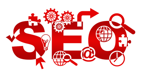 SEO Text With Shapes Red Stock Photo