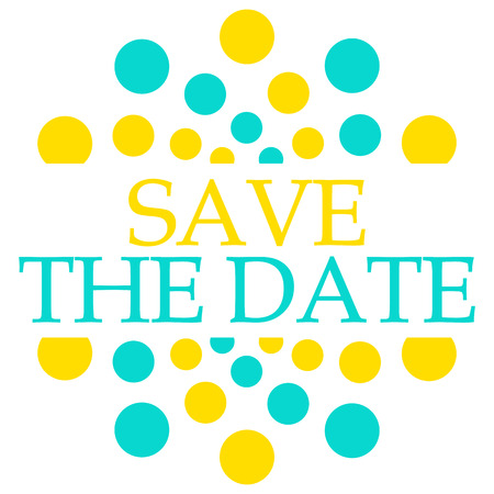 Save The Date Turquoise Yellow Dots Circular