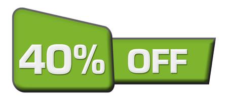 percent sign: Discount 40 percent Off Green Triangle Bar