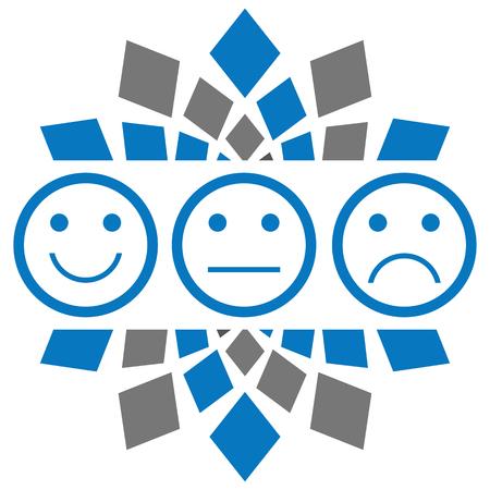 Smile Sad Neutral Blue Grey Circular