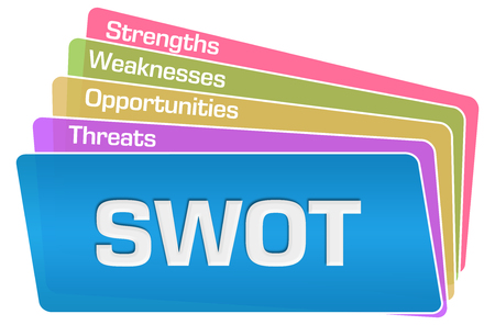 SWOT Text Colorful Squares Stack