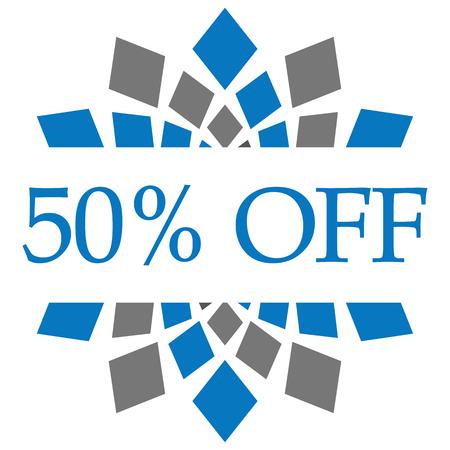 Discount 50 Percent Off Blue Grey Circular