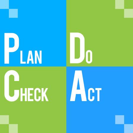 PDCA - Plan Do Check Act Green Blue Four Squares