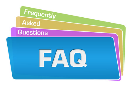 FAQ - Frequently Asked Questions Text Colorful Squares Stack