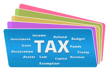 Tax Word Cloud Colorful Squares Stack
