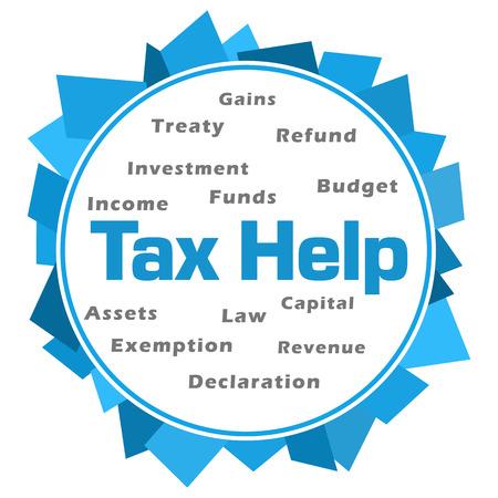 Tax Help Word Cloud Blue Abstract Circular