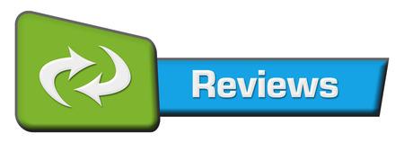 reviews: Reviews Blue Green Triangle Horizontal Stock Photo