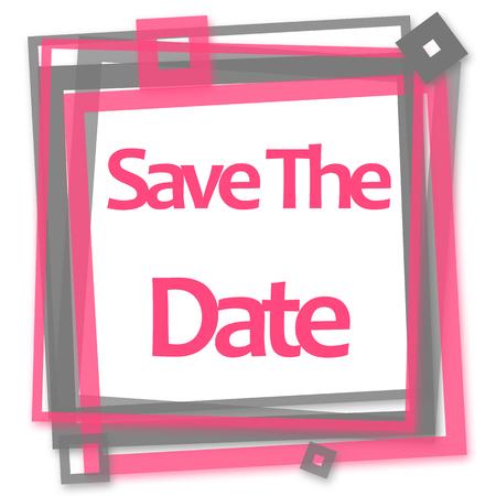 Save The Date Pink Grey Frame 版權商用圖片