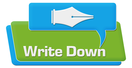 documenting: Write Down Green Blue Comment Symbol Text