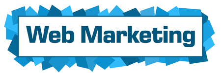 Web Marketing Blue Random Shapes Horizontal Stock Photo