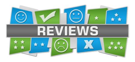 reviews: Reviews Green Blue Squares Top Bottom Stock Photo