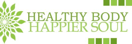 happier: Healthy Body Happier Soul Green Leaves Circular Horizontal