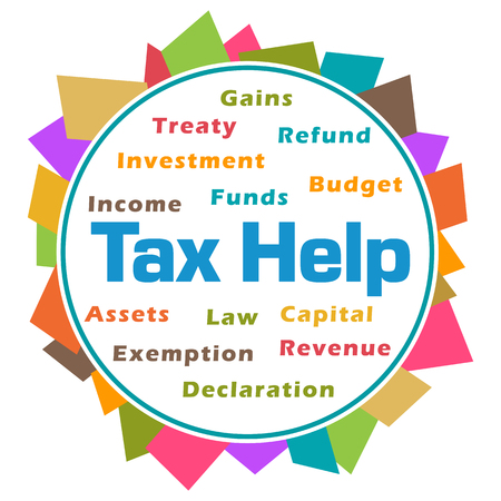 Tax Help Word Cloud Colorful Abstract Circular Stock Photo