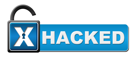 Hacked Blue Opened Lock Horizontal Stock Photo