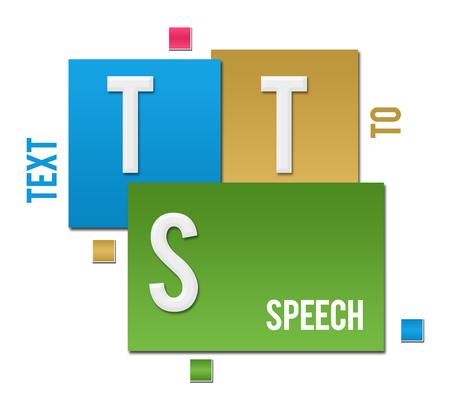 TTS - テキストを音声カラフルな正方形のテキスト 写真素材
