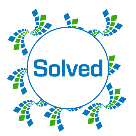 customer support: Solved Green Blue Abstract Squares Circular