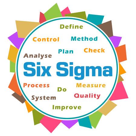 Six Sigma Word Cloud Colorful Abstract Circular