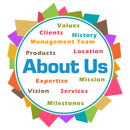 About Us Word Cloud Colorful Abstract Circular