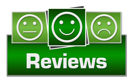reviews: Reviews Green Squares On Top Stock Photo