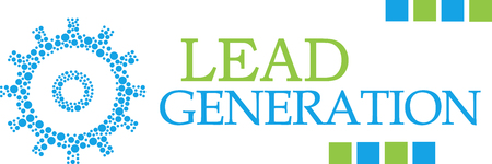 Lead Generation Dotted Gear Green Blue Horizontal Stock Photo