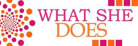 What She Does Pink Orange Dots Horizontal Stock Photo