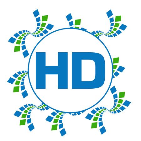 high def: HD Green Blue Abstract Squares Circular