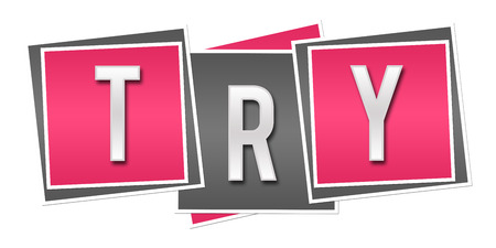 Try Pink Grey Blocks Stock Photo