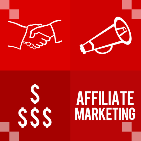 selling service: Affiliate Marketing Red Four Blocks Stock Photo