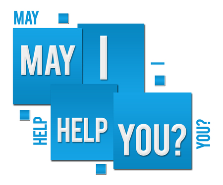May I Help You Blue Squares Text Stok Fotoğraf