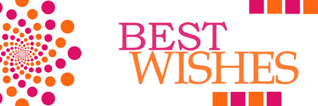 Mis mejores deseos Pink Orange Dots Horizontal Foto de archivo - 88595874