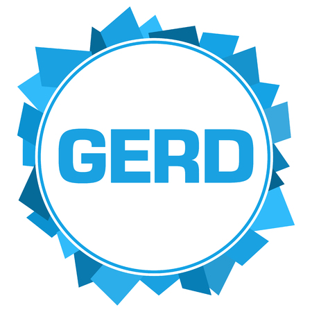 GERD - Gastroesophageal Reflux Disease Blue Random Shapes Circle Stock Photo