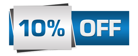 Rabatt 10 Prozent aus blau grau horizontal Standard-Bild - 91346101