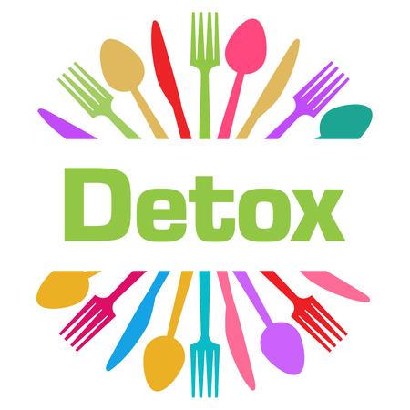 Detox Circular Spoon Fork Knife Colorful Stock Photo