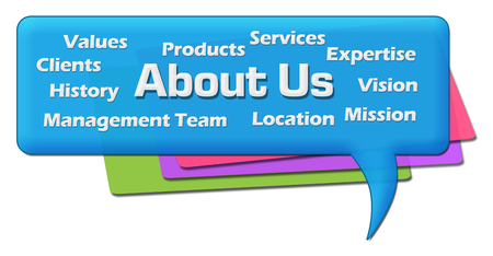 About Us Word Cloud Colorful Comment Symbol