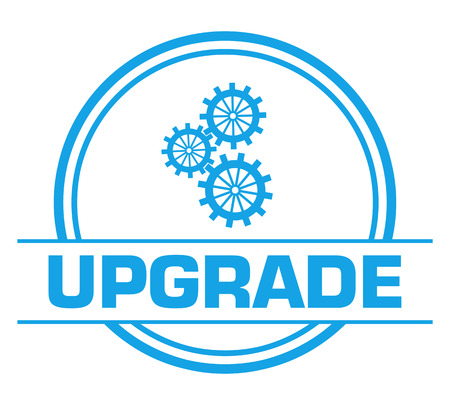 Upgrade Blue Circular Badge Style