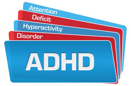 ADHD - Hyperactiviteitsstoornis met aandachtstekort Rood blauw afgeronde vierkanten