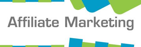 Affiliate Marketing Green Blue Shapes Horizontal Stock Photo