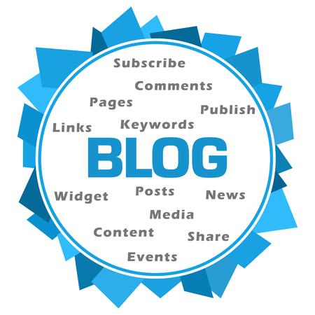 Blog Word Cloud Blue Abstract Circular