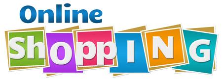 Online Shopping Colorful Squares Text Foto de archivo