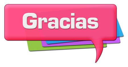 Gracias Pink Colorful Comment Symbol Stock Photo