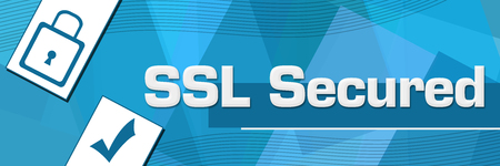 SSL Secured Random Shapes Blue Background