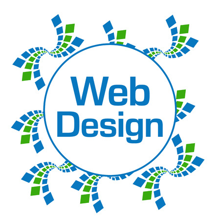 Web Design Green Blue Abstract Squares Circular
